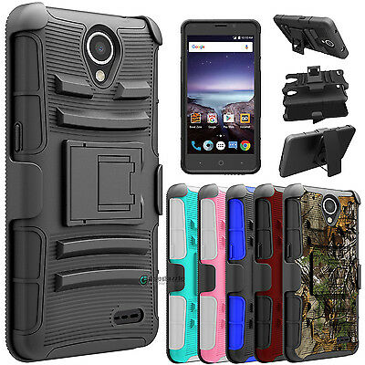 For ZTE Maven 3 / Overture 3 Shockproof Hybrid Kickstand Clip Phone Case Cover