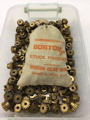 "Boston Gear Brass Y-2416 Spur Pinion Gear Clock Telescope Model 3/16"" Bore Hole"
