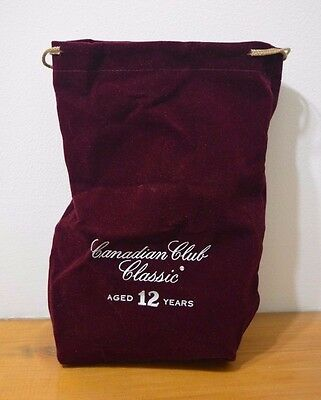 Canadian Club Classic Aged 12 Years Early 90s Velvet Burgundy Drawstring Bag
