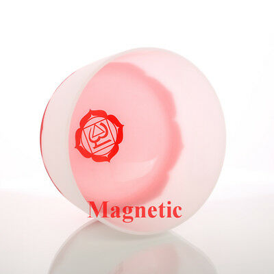 """Magnetic 10"""" Root Chakra Note C Red Quartz Crystal Singing Bowl With Lotus"""
