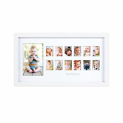 """Pearhead """"My First Year"""" Photo Moments Baby Keepsake Frame White NO TAX"""