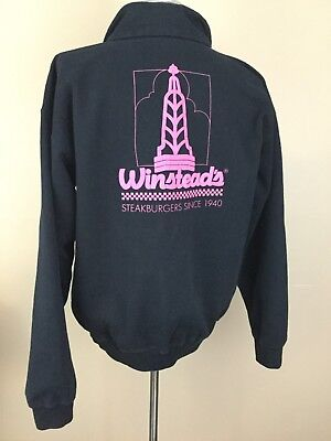Winsteads Vintage Sweatshirt Black With Pink Logo Half Zip Pullover Size Large