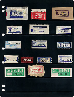 Postage Labels Air Mail Registered Express Certified Mail Thailand Fiji - Used