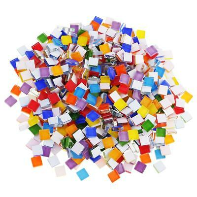 390pcs Colorful Square Glass Pieces Mosaic Tiles Tessera for Craft 10x10mm