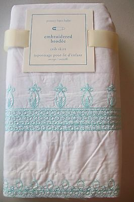 NWT Pottery Barn Kids Baby Embroidered Crib Bed Skirt White Aqua