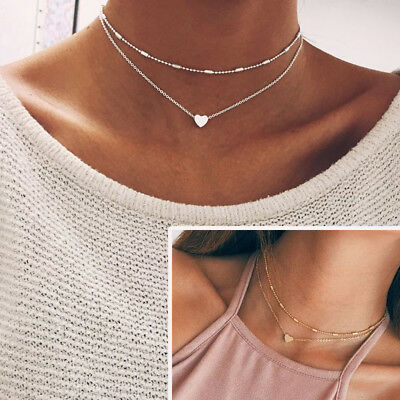 Women Simple Double Layers Chain Heart Pendant Necklace Choker Fashion Jewelry