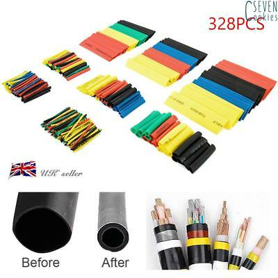 328Pcs 5 colors Heat Shrink Tube Wire Wrap Car Electrical Cable Tubing 8 Sizes