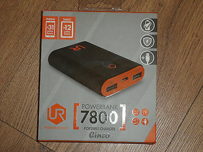portable mobile&tablet charger dual port, Cinco Powerbank 7800 mAh battery