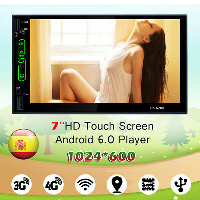 "7"" 2 Din Quad Core Android 6. 0 Bluetooth Coche Reproductor Wifi Radio/USB/GPS"