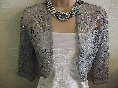 Silver Grey Sequinned Stretch Lace Shrug / Bolero - New  - Sizes 10 To 24