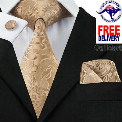 Premium Gold Golden Men Tie Silk Jacquard Formal Wedding Cufflink Hanky