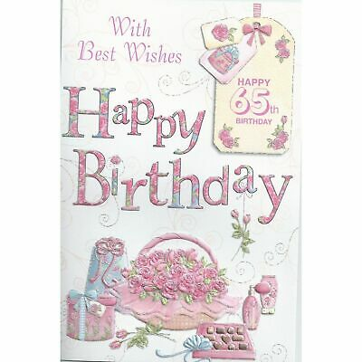 With Best Wishes Happy Age 65th Birthday Greetings Card 65 Today Female Flowers