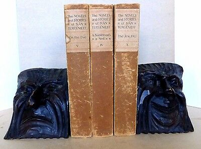 Unique Comedy& Tragedy Bookends Arts & Crafts Period Style in Wood c. 1900-20