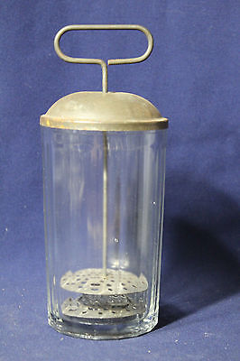 """Vintage Complete Hand Press Drink Mixer With Original Mixing Drink Glass 8"""""""