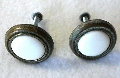 Vintage White Porcelain Brass Knobs Set of 2 Approx. 1-1/4""
