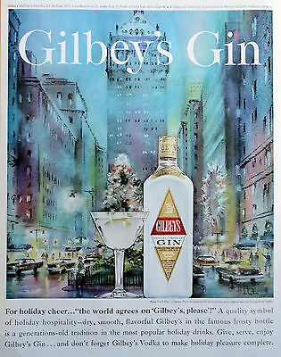 1962 ORIG PRINT AD GILBEY'S GIN art by Georgette de Lattre NYC Park Ave. holiday