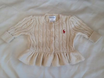 Ralph Lauren Cable Knit Cream Button Up Cardigan Combed Cotton Girls  3 Months