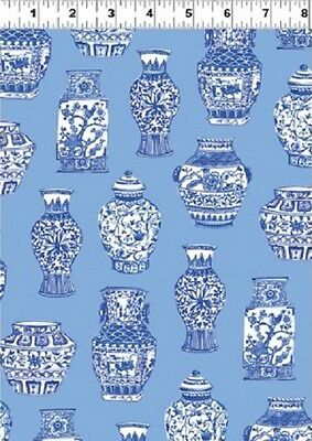 Tea Garden Porcelain Painting Delftware Blue Cotton Fabric Print by Yard D778.46