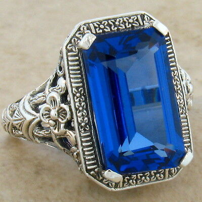8 Ct London Blue Topaz Sim Antique Deco Design 925 Silver Filigree Ring,     #52