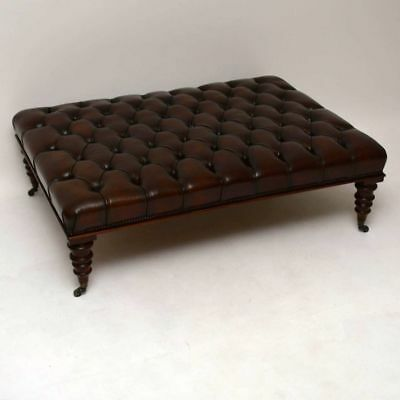Antique Large Deep Buttoned Leather Stool