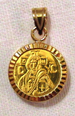 Solid 22K Gold Christ Coin Byzantine Icon Pendant 14K Diamond cut Bezel