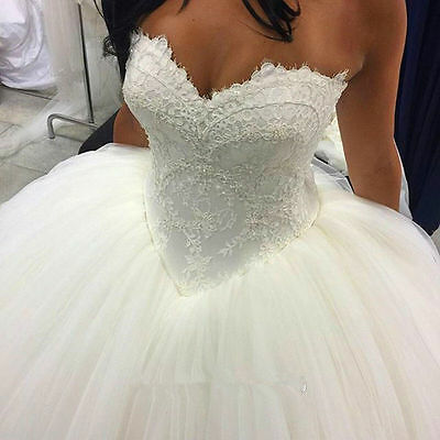 NEW White/Ivory Lace Tule Wedding Dress Bridal Gown Size  6 8 10 12 14 16 18