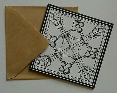 Set of 6 Blank Square Note Cards & Envelopes Greeting ~ Geometric Floral