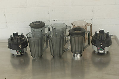 Hamilton Beach 908 Commercial Food Bar Blender LOT - 2 Bases & 6 Containers