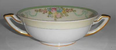 Meito China Porcelain Japan Floral Gold Green Yellow Cream Soup Bowl