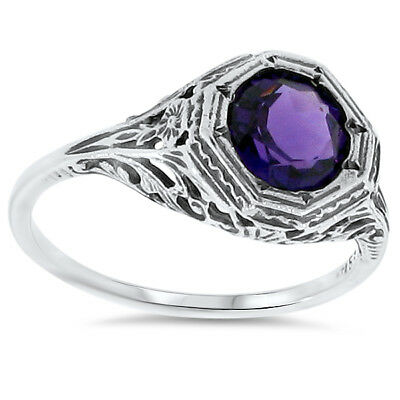 Antique Art Deco Style Lab Amethyst .925 Sterling Silver Filigree Ring,     #68