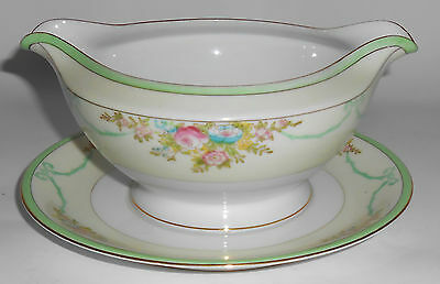 Meito China Porcelain Japan Floral Gold Green Yellow Gravy Bowl