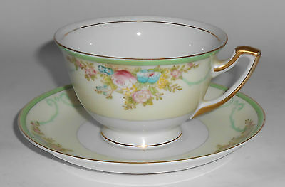 Meito China Porcelain Japan Floral Gold Green Yellow Cup & Saucer Set