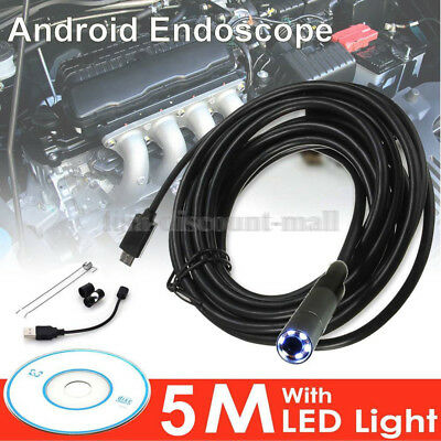 For Samsung Android Waterproof Endoscope 6LED HD 5M Camera Inspection Borescope