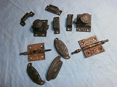 Antique Victorian Eastlake Cast Iron 1873 Drawer Pulls Cabinet Door Latch Hinges
