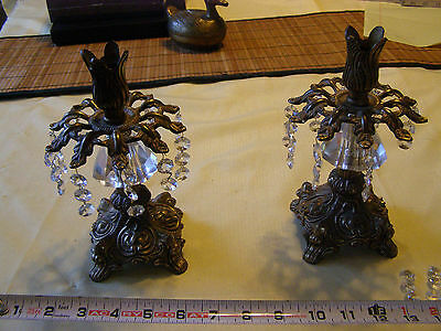 Set Of 2 Vintage Brass Candle Stick Holders with Crystals or glass Prisms ornate