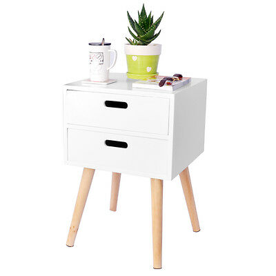 White Bedside Table With 2 Drawers Bedroom Furniture Storage Unit MDF Nightstand