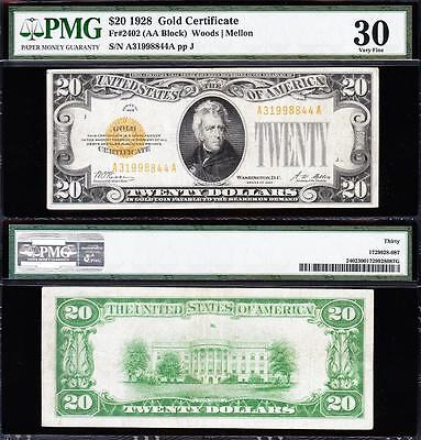 AWESOME Bold & Crisp Choice VF+ 1928 $20 GOLD CERTIFICATE! PMG 30! A31998844A