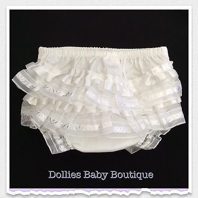 Baby Girl's Frilly Knickers 100% Cotton Frilled Pants With Satin Frills
