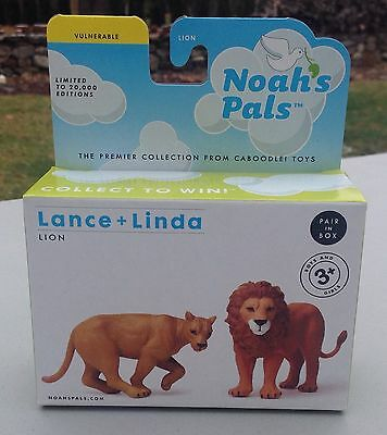 NOAH'S PALS LION ANIMALS PAIR Lance & Linda CABOODLE TOYS New In Package 1:24