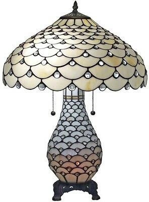 25 in. Tiffany Style and White Jeweled Double Lit 2 Light Table Lamp New Best