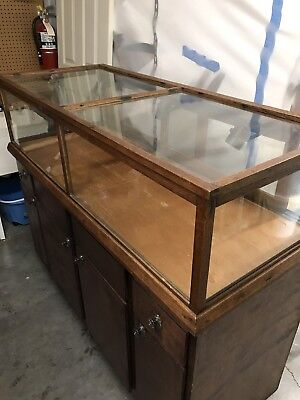 Antique Glass Counter Top OAK Showcase 6 FT x 24 inches approximately with light