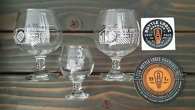 [3] THE BOTTLE LOGIC BREWERY BBA STOUT & 4oz TASTER GLASSES DECAL COASTER SET