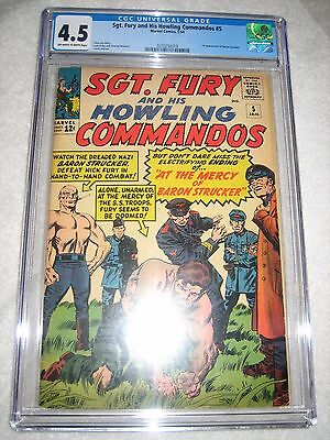 SGT. FURY AND HIS HOWLING COMMANDOS # 5 CGC 4.5 OW/WH - 1st BARON STRUCKER!!!!!