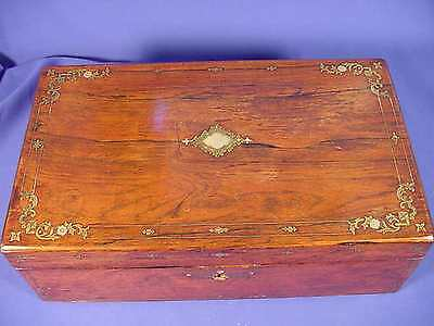 ANTIQUE WOOD TRAVELING  BOX WRITING LAP DESK W/Brass Inlay and MOP