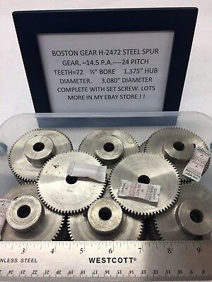 "Boston Gear Steel H-2472 Spur Gear Clock Telescope Lathe 1/2"" Bore Hole-Hobby"