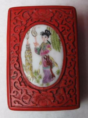 Rare Vintage Chinese Cinnabar Hand Carved Box W/ Hand Painted Plaque On Top