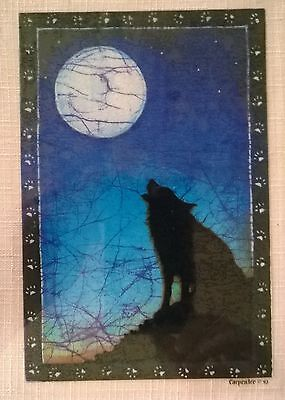 Retro 1990's Howling Wolf and Full Moon Window Sticker/Decal