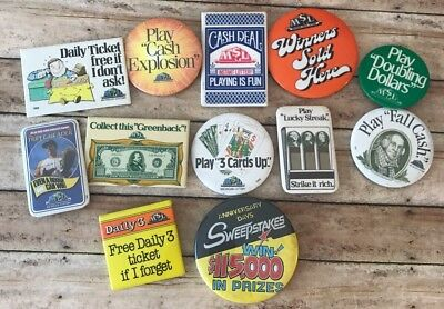 Lot Of 12 Vintage Michigan State Lottery Button Pins