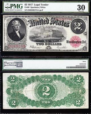 AWESOME Bold & Crisp VF++ $2 1917 BRACELET US Note! PMG 30! FREE SHIP! D62436174