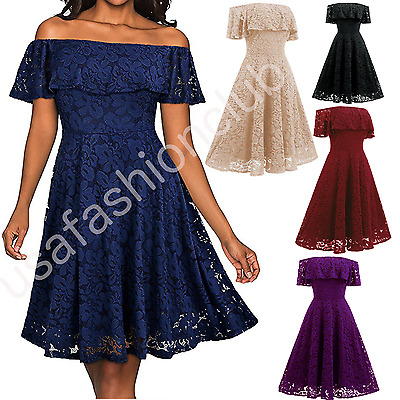 Women Elegant Lace Off Shoulder Formal Cocktail Evening Party Casual Swing Dress
